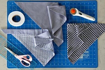 DIY no-sew dog bandanas with fully finished hemmed edges