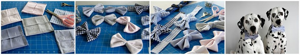 Making DIY dog bow ties with materials salvaged from old men's dress shirts