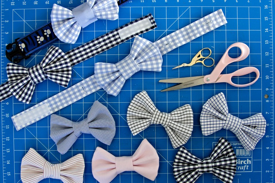 DIY French cuff dog bow ties and button placket collar bands