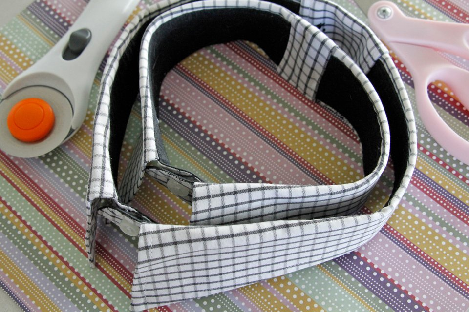 DIY recycled dress shirt dog collars sized to fit different necks