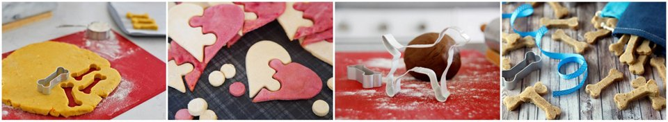 Using cookie cutters to make shaped homemade dog treats