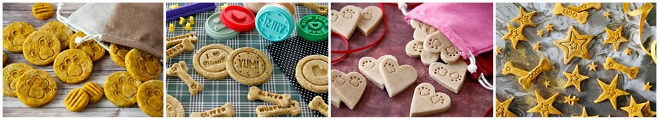 Decorating homemade dog treats with stamped designs
