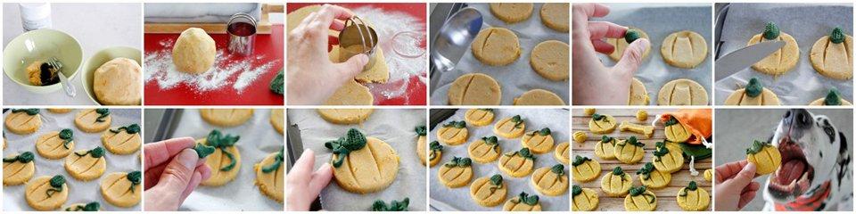 step by step making pumpkin shaped dog treats