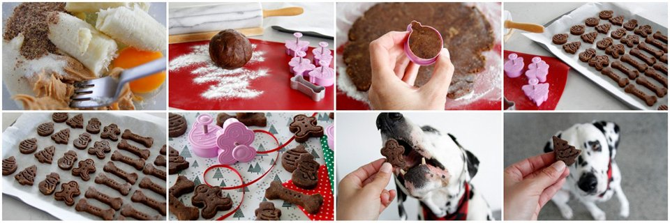 Making peanut butter, banana, and carob dog treats with Christmas plunger cookie cutters
