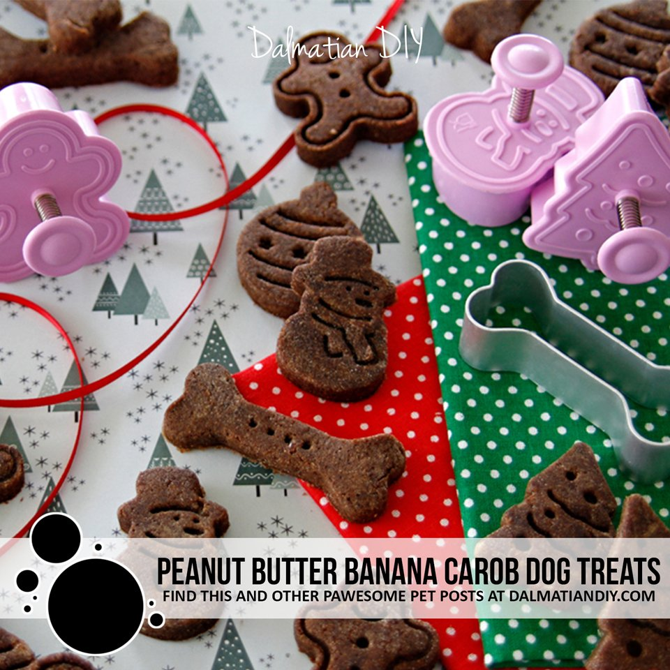 Homemade peanut butter, banana, and carob dog treat recipe
