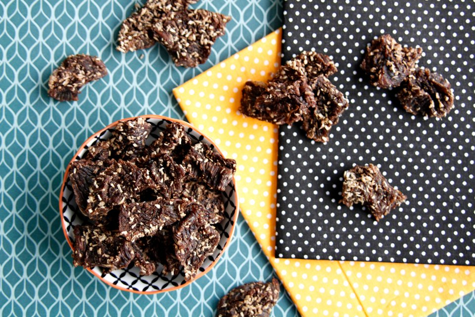 Homemade coconut spice beef jerky dog treats