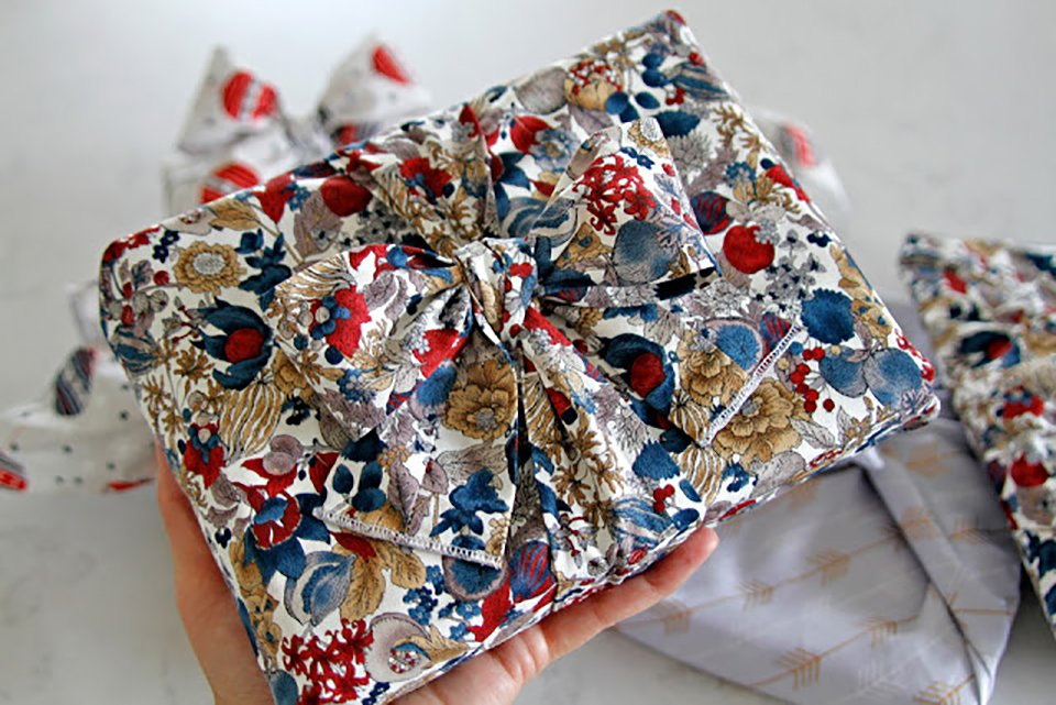 Beautiful homemade reusable fabric gift wrap