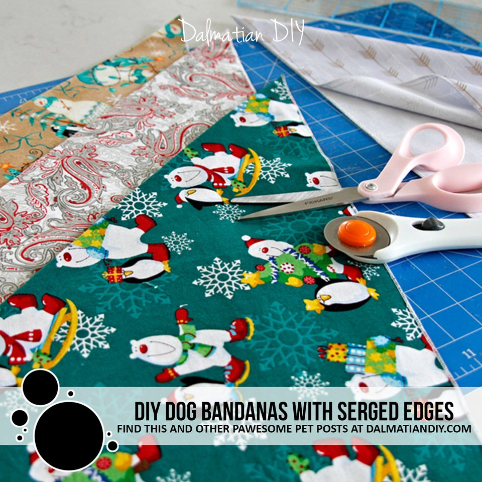 DIY dog bandanas with a serger (serged edges)