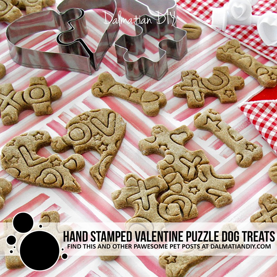 Hand stamped Valentine's Day puzzle dog treats