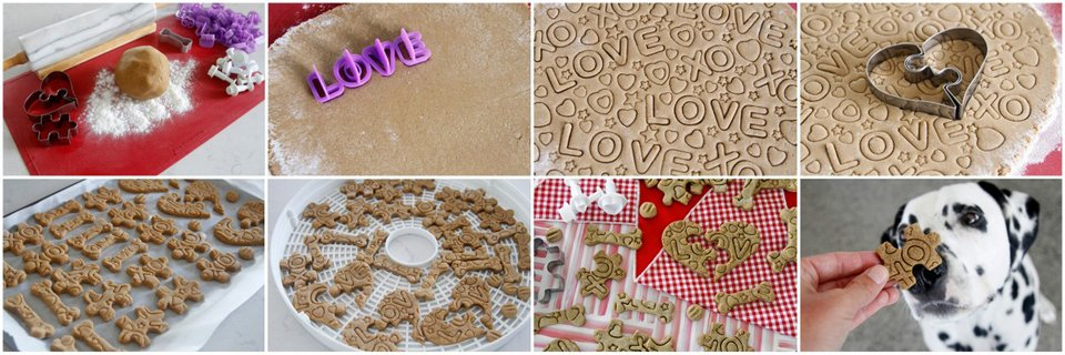 Making hand stamped Valentine's Day jigsaw puzzle dog treats