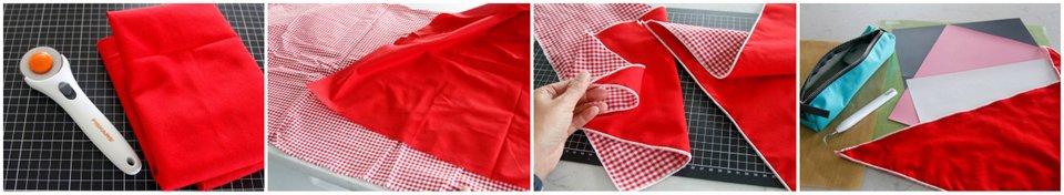 Making a double-sided DIY dog bandana with serged edges