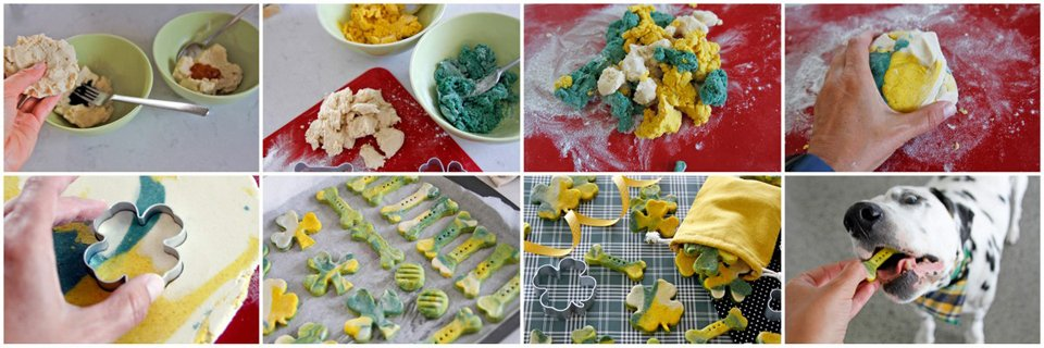 Making marbled green and gold St. Patrick's Day dog treats