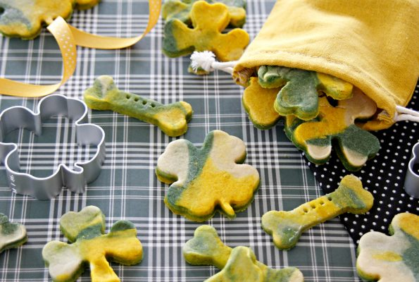 Homemade marbled green and gold St. Patrick's Day dog treats