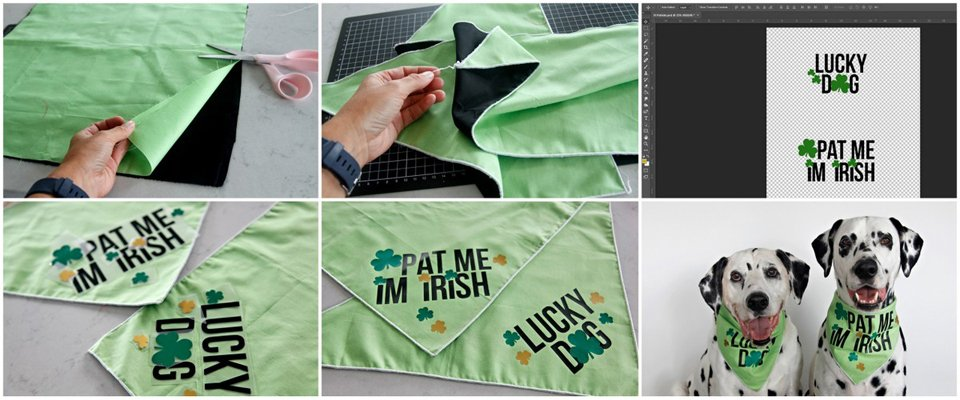 Making DIY St. Patrick's Day dog bandanas with Cricut heat transfer iron-ons