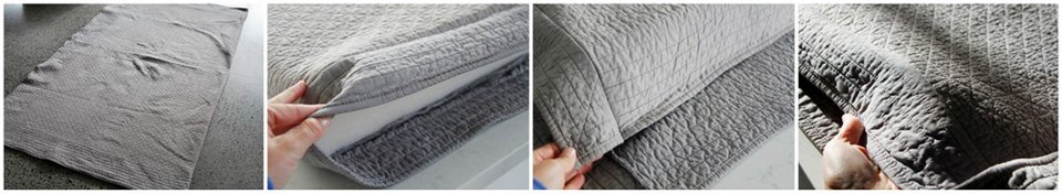 Pattern matching when making a recycled blanket dog bed cover