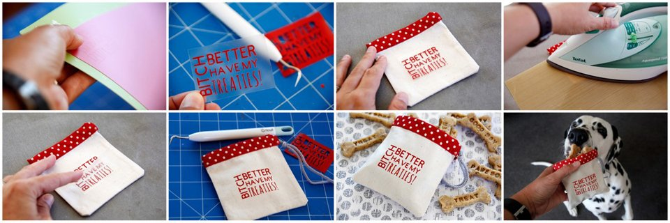 How to make custom Cricut dog treat bags using heat transfer vinyl