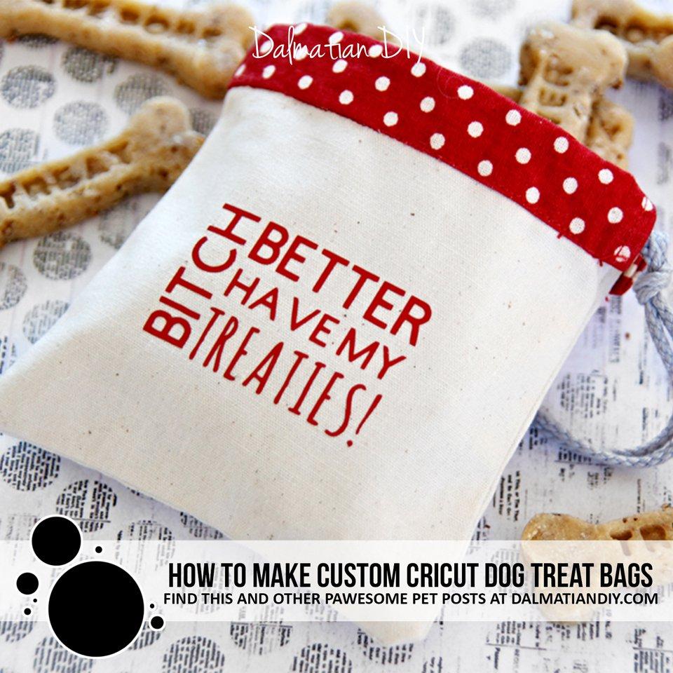 DIY custom Cricut dog treat bags with iron on vinyl