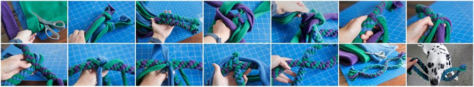Making a double (infinity) loop fleece dog tug toy