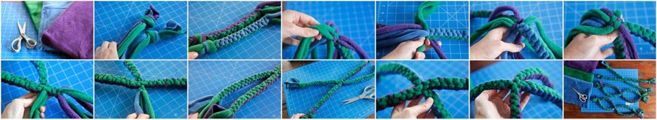 Making a cross over four tail dog tug toy