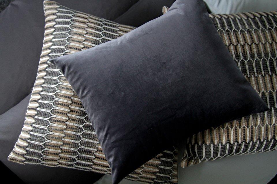 DIY grey velvet envelope style cushion cover
