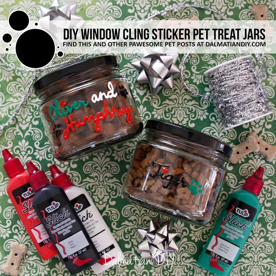 DIY Window Cling Holiday Pet Treat Jars