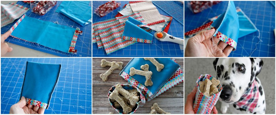 Sewing reusable fabric dog treat bags with a waterproof PUL liner