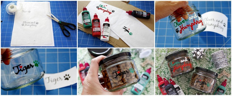 Using fabric paint to make window cling stickers for removable pet treat jar labels