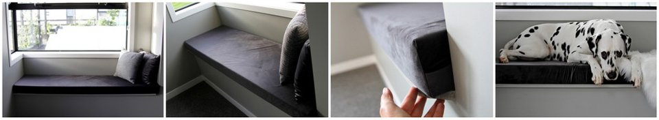 DIY custom fitted window seat cushion with removable cover