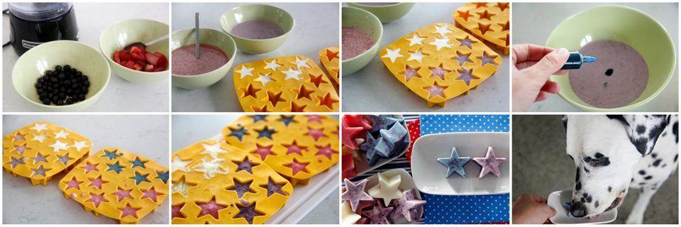 Making fruit and yogurt frozen star Fourth of July dog treats with and without added colourings