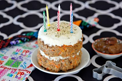 Homemade beef, banana, and carrot dog birthday cake recipe with coconut yogurt frosting