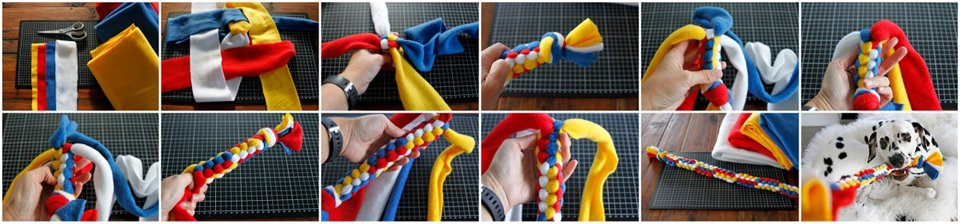 How to make a DIY colour block woven fleece dog tug toy