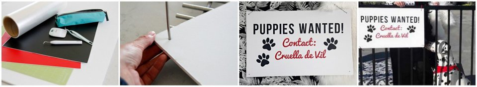 "Making DIY ""Puppies Wanted"" sign for Hundred and One Dalmatians Halloween decorations"