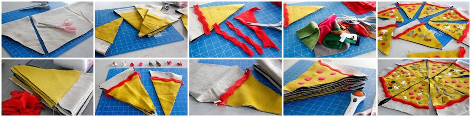 Cutting and sewing DIY pizza slice dog toys