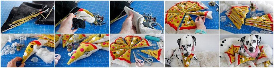 Sewing and stuffing DIY pizza slice dog toys