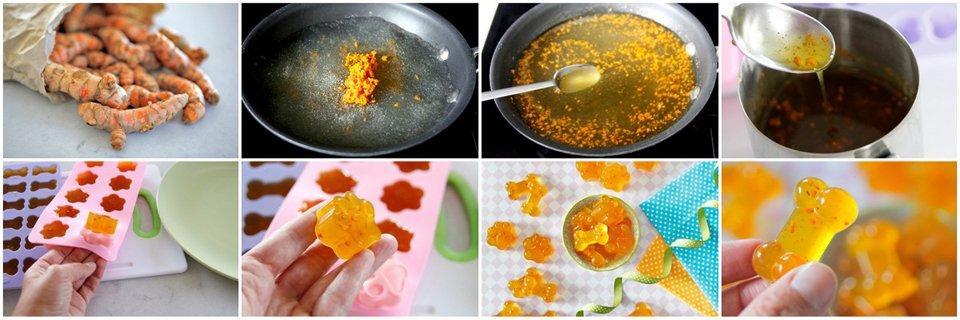 Making gelatin gummy dog treats with fresh turmeric