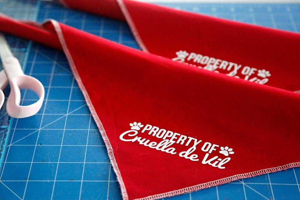 "DIY ""Property of Cruella de Vil"" dog bandanas for Hundred and One Dalmatians Halloween costumes"