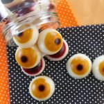 Homemade gelatin gummy eyeball Halloween dog treats