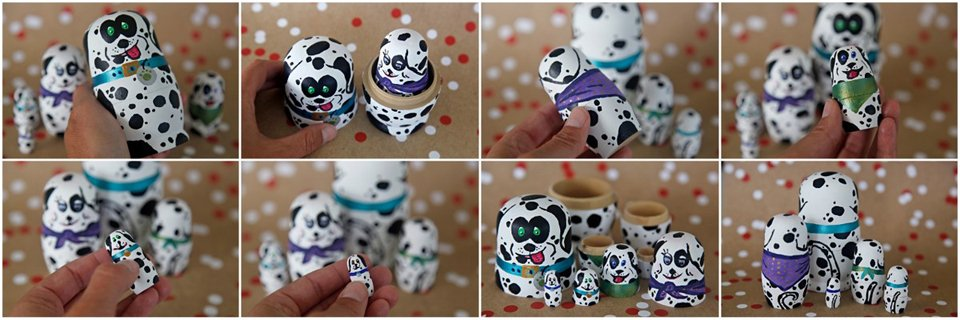 DIY painted Dalmatian dog matryoshka dolls