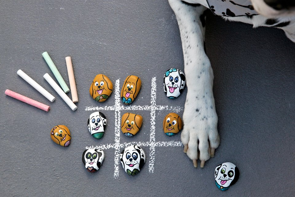 DIY painted dog rock tic tac toe game with Dalmatians and golden Labrador retrievers or similar dogs