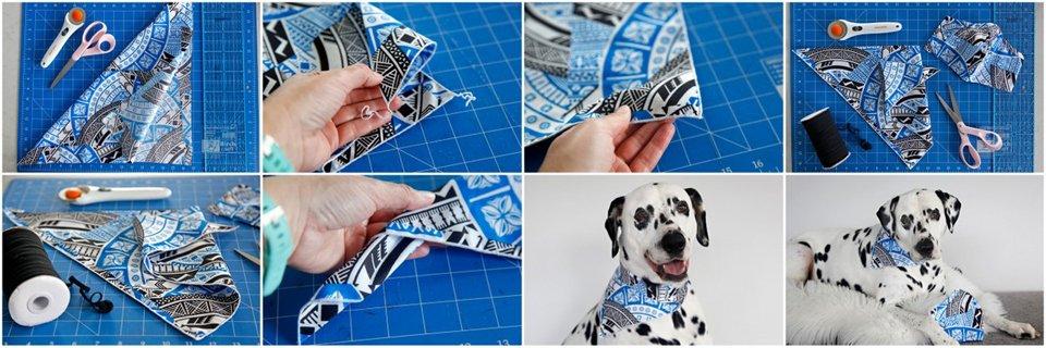 Making a serged edge DIY dog bandana to match a fabric face mask