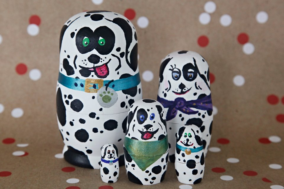 Homemade painted nesting doll Dalmatian dog family