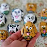 DIY painted dog rocks for homemade tic tac toe game