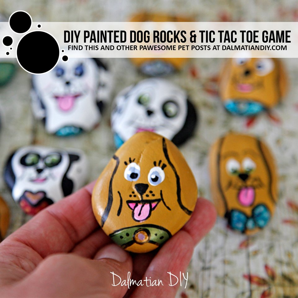 DIY painted dog rocks for tic tac toe