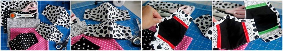 DIY Dalmatian patterned fabric fitted face masks with filter sleeve