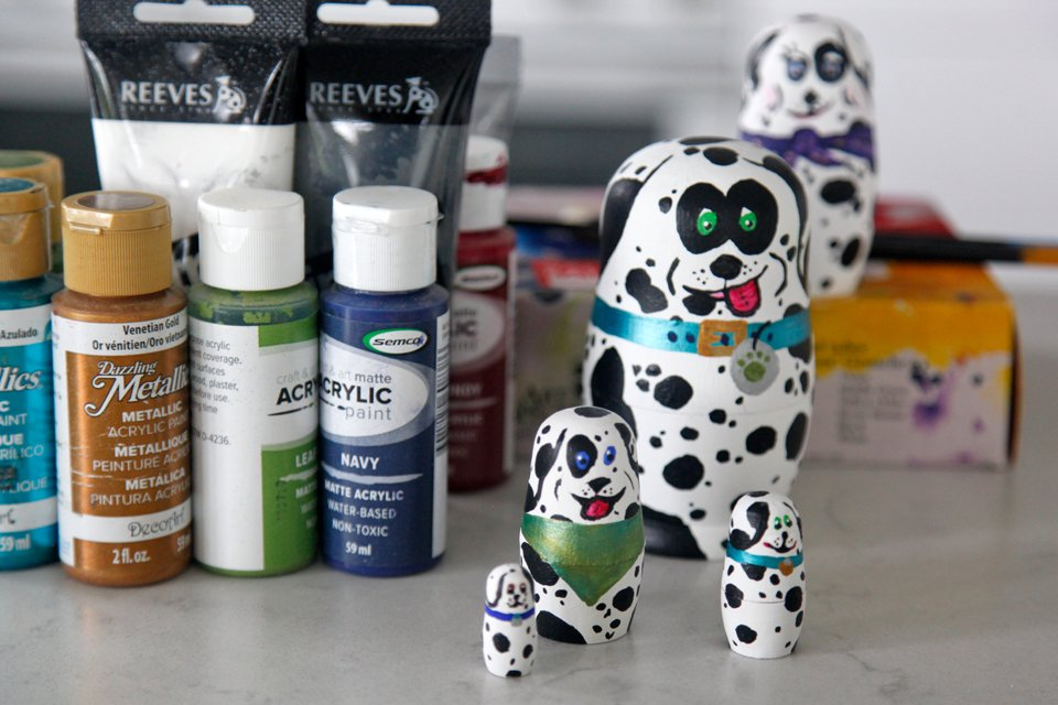 Painting Dalmatian dog matryoshka dolls
