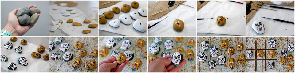 Painting dog rocks for homemade tic tac toe set