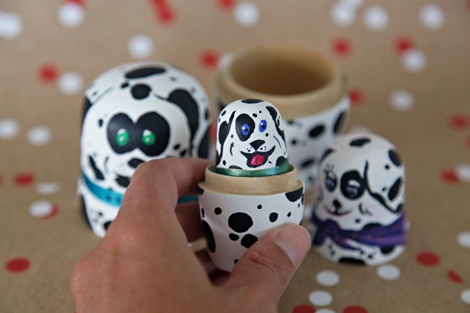 Homemade painted Dalmatian dog nesting dolls