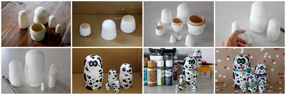 Painting nesting dolls (Matryoshka) to look like Dalmatian dogs