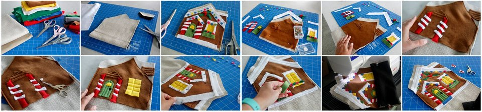 Step-by-step sewing a gingerbread house design in fleece for a stuffed toy