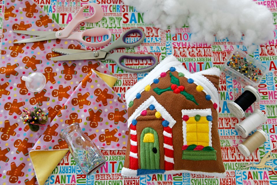 DIY stuffed gingerbread house dog toy with sewing supplies
